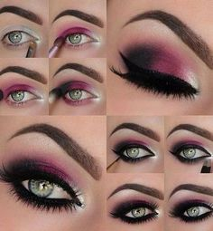 16 Easy Step-by-Step Eyeshadow Tutorials for Beginners: #10. Pink, Silver and Black – Step by Step Eyeshadow Tutorial for blue eyes