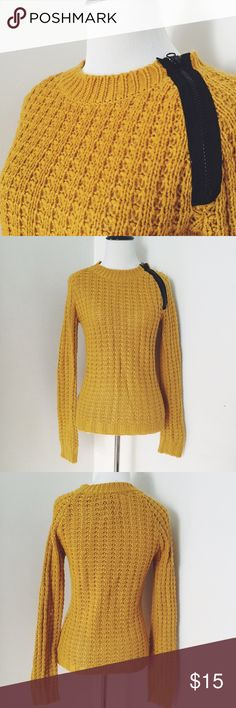 Mustard Sweater Mustard color pullover sweater with asymmetrical zipper detail. Super warm item to layer. Sweaters