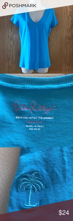 EUC Lilly Pulitzer v-neck t-shirt size medium EUC. Bought to go with skirt in other listing (200) Lilly Pulitzer Tops Tees - Short Sleeve