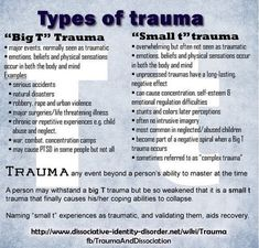 """Dissociation and Trauma. """"Big T and Small t"""" types of trauma Mental Health Facts, Mental Health Counseling, Mental Health Awareness, Mental Illness Facts, Mental Health Illnesses, Stress Management, Trauma Quotes, Trauma Therapy, Writing"""