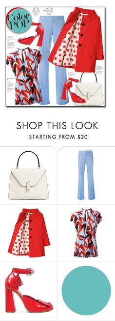 """Color POP"" by court8434 ❤ liked on Polyvore featuring Valextra, STELLA McCARTNEY, Kate Spade, Marni, SUNO New York, Wall Pops!, Pori, glitter and statementcoats"