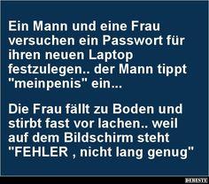 Ein Mann und eine Frau versuchen ein Passwort für..   Lustige Bilder, Sprüche, Witze, echt lustig