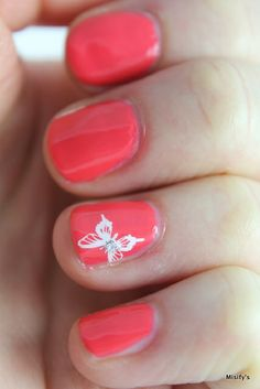 Coral Pink Butterflies for a Friend / OPI - I Eat Mainely Lobster / Konad - White / A England - Merlin / MoYou London - Mother Nature Collection 01.