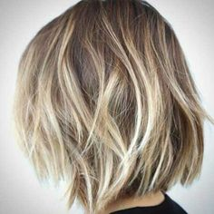 Long blunt wavy textured bob with Balayage highlights and lowlights. Description from pinterest.com. I searched for this on bing.com/images