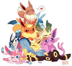 pokemon cute adorable kawaii pixiv fan art eevee flareon vaporeon espeon umbreon leafeon glaceon eeveelutions eeveelution not my art Sylveon pokepuff jotleon Pikachu Pikachu, Digimon, Pokemon Mignon, Anime Pokemon, Fanart Pokemon, Pokemon Memes, Pokemon Stuff, Pokemon Original, Pokemon Eevee Evolutions