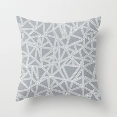 Abstract New Grey Throw Pillow #abstract #abstraction #grey #white #geometric #triangles #triangle #line #lines