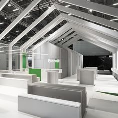 By constructing its exhibit out of thin, vertical wafers and stretching the pieces out over 90 feet, Eternit AG fostered a sense of transparency and accessibility at Bau 2013.