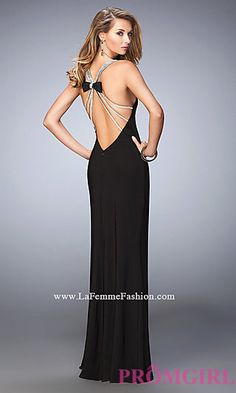 Floor Length V-neck Black Open Back Dress by La Femme at PromGirl.com