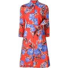 Monique Lhuillier floral print shirt dress ($3,215) ❤ liked on Polyvore featuring dresses, red, multi colored dress, monique lhuillier dresses, red floral dress, flower print dress and multi-color dress