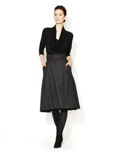Wool Belted A-Line Skirt by Carolina Herrera on Gilt.com