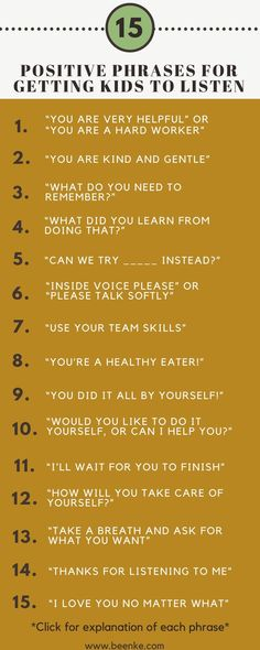 Getting kids to listen without yelling takes patience and skill. How can you develop this parenting skill? Check out 15 positive phrases you can try now. If you are an educator you can also try this at school, in the classroom. #beenke #GettingKidsToListen | mom, children, families, student