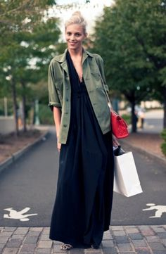 Maxi dress with an army jacket-yeah, can so see myself in this!