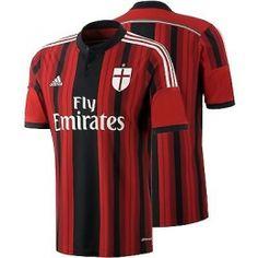 492a49782 14 15 AC Milan Home Red Black Soccer Jersey Shirt