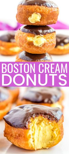 These Easy Boston Cream Donuts are made with refrigerated biscuits for a quick method that will have you enjoying a fried cream-filled chocolate-topped donut in no time! Cream Donut Recipe, Cream Filling Recipe, Donut Filling, Easy Donut Recipe, Donut Recipes, Dessert Recipes, Deep Fried Donut Recipe, Canned Biscuit Donuts, Fried Biscuits