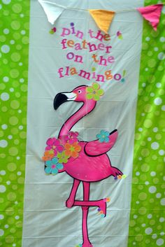 Pin the hat on the flamingo - flamingo from the dollar tree - party hats cut with my cricut.