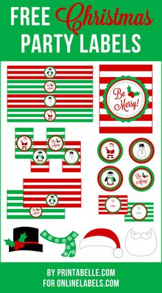 Free Christmas themed printables that include photo props, candy favor labels, water bottle labels and more from @onlinelabels & @printabelle