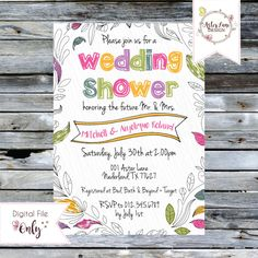 """Wedding Shower Couples Invitation // """"Hand Drawn"""" Floral Doodles Invitation // Personalized Printable Invitation by AsterLaneDesign on Etsy https://www.etsy.com/listing/400236281/wedding-shower-couples-invitation-hand"""