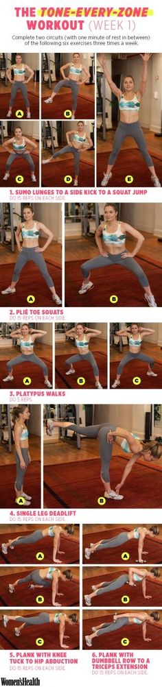 6 Moves for Total-Body Toning WEEK 1 - Our four-week training plan with celeb trainer David Kirsch kicks off today! Meet the first week of strength-training exercises here. | Women's Health Magazine #fitness #workout