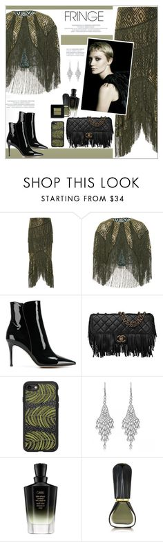 """Shimmy Shimmy: Fringe"" by alves-nogueira ❤ liked on Polyvore featuring Anna Sui, Gianvito Rossi, Chanel, Casetify, Allurez, Oribe, Bobbi Brown Cosmetics, fringe, fringebag and polyvoreeditorial"