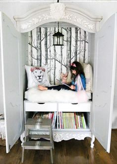 DIY Narnia Wardrobe Reading Nook pin description DIY Narnia Wardrobe Reading Nook blesserhouse A plain thrifted armoire gets a sweet fairytale-like makeover as a reading nook based on the story of The Lion the Witch and the Wardrobe Childrens Reading Corner, Furniture Makeover, Diy Furniture, Wardrobe Furniture, Farmhouse Furniture, Bedroom Furniture, Acrylic Furniture, Furniture Vanity, Furniture Storage