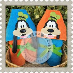 Wacky Dog 3D & Applique hooded towel designs. #Embroidery