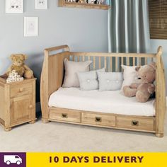Baumhaus Amelie Oak Cot Bed with Three Drawers