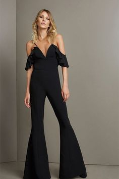 4246c690c815 Hualong Sexy Strap Deep V Black Wide Leg Jumpsuit  women  fashion  overalls   . Online Store for ...