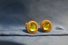 vintage earrings screw ons green by TimesTwoBoutique on Etsy, $18.00