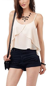 Oure Women Casual Dovetail Slits Stacked Flounced Chiffon Strap Top Vest Top Beige XXs Oure http://www.amazon.com/dp/B013P01ZIC/ref=cm_sw_r_pi_dp_ciM3vb0DKD6P7