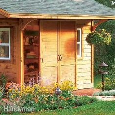 Tips for Building a Storage Shed here are some excellent tips taken from our pros' 50 years worth of experience in designing yard sheds. these tips will make your project easier, more economical and help you add practical features that will make your shed Outdoor Buildings, Garden Buildings, Garden Structures, Outdoor Structures, Building A Storage Shed, Storage Shed Plans, Building Ideas, Backyard Sheds, Outdoor Sheds
