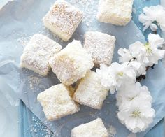 White chocolate lamingtons recipe - By Australian Women& Weekly Chocolate Icing, White Chocolate, Mini Cakes, Cupcake Cakes, Cupcakes, Tea Cakes, Lamingtons Recipe, Lamington Cake Recipe, Australian Food