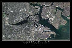 Boston Massachusetts Satellite Poster Map