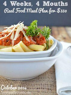 Frugal Real Food Meal Plan: October 2014