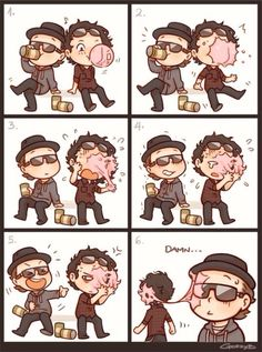 Hollywood Undead Chibis❤️ Da kurlzz chewing bubble gum and trying to do a bubble nut when it pops it gets in his hair and Charlie Laugh at him.❤️