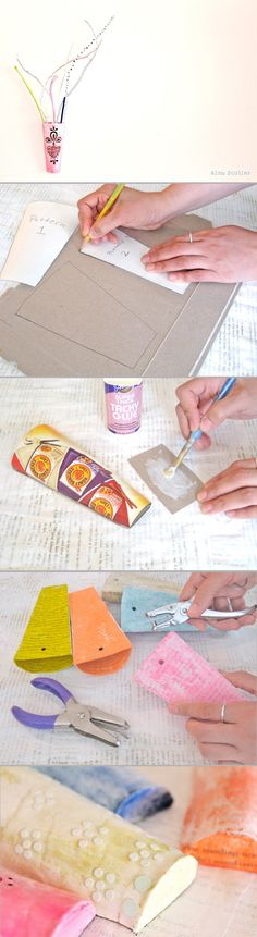 How to make DIY paper wall vases by alma stoller. Full tutorial and a free template, here: http://www.almastoller.blogspot.ca/2012/06/tutorial-how-to-make-wall-vase.html #gift #upcycle