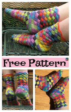 This colorful, splendid Rainbow Patch Socks design is one of the best DIY ideas ever. Knitting Stitches, Knitting Socks, Free Knitting, Yarn Projects, Knitting Projects, Crochet Projects, Crochet Slippers, Knit Crochet, Knitting Patterns