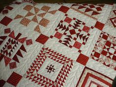 "Nearly insane dear jane - detail  -  blocks are 6"" and the whole quilt is 98 blocks, with 2 half blocks counted as 1."