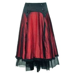 0a3506cfc Red Black Long Gothic Skirt with Straps ❤ liked on Polyvore featuring skirts,  long maxi