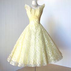 vintage 1950's dress most exquisite CEIL CHAPMAN lemon by traven7, $690.00 ♥ themarriedapp.com hearted ♥