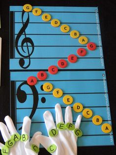 Mats and gloves teach your child how to read notes and find them on the piano! #childrenguitarlessons #howtoteachguitar