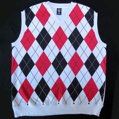 Mens Big & Tall GB Argyle Print Sweater Vest 4XL XXXXL Urban Preppy Pattern #GB #VNeck
