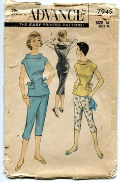 1950s Pants and Overblouse Pattern Tapered by PrettyPatternShop
