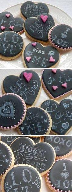 Valentine's Day Cookies Chalkboard Cookies #happyvalentinesday #valentine #cookies Easily customizable for wedding favors. #WeddingFavors