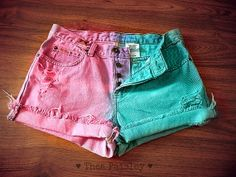 Pink Blue studded Denim High Waited Dip Dye Shorts/ Pastel Goth shorts/Vintage four button