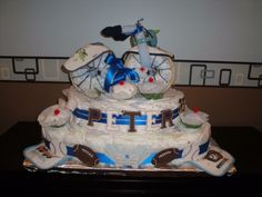 Double layer Motorcycle diaper cake with onesie cupcakes and hand painted details