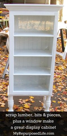 make a display cabinet out of some scrap lumber, bits/pieces, and a window by MyRePurposedLife