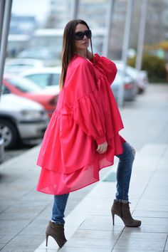 Women Maxi Fuchsia Tunic Top, Fuchsia Asymmetric Flounces Top, Oversize Summer Top, Cotton Casual Dress by EUG fashion / 3594 by EUGfashion on Etsy