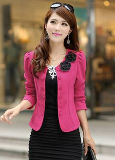 Romantic Rose Puff Sleeve Bow Decoration Short Pattern Suits