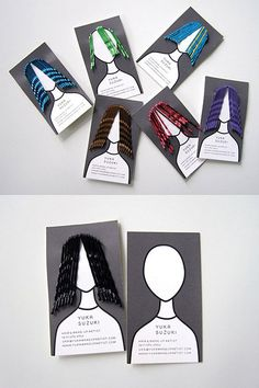 Self-promotional design by Studio Kudos for hair and makeup artist, Yuka Suzuki, who is based in New York. Business Card Maker, Unique Business Cards, Creative Business, Branding And Packaging, Packaging Design, Identity Branding, Visual Identity, Personal Identity, Hairstylist Business Cards
