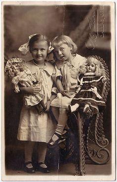 1910s Lot of 5 Photos Young Girls with Dolls Strollers Umbrella Studio RPPC | eBay